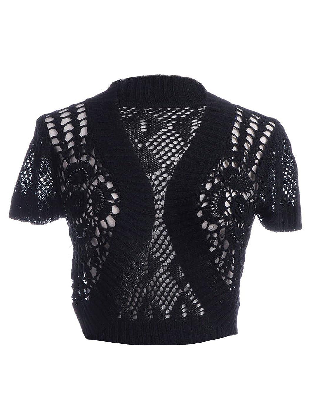 e0a653d2e70c Anna-Kaci S/M Fit Black Diamond and Floral Pattern Crochet Knit Beaded  Cardigan: Amazon.co.uk: Clothing