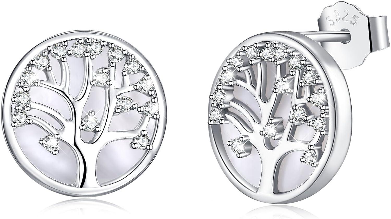 MEGACHIC Pendientes para Mujer Árbol de la Vida Plata 925 con Nácar Cristales de Swarovski