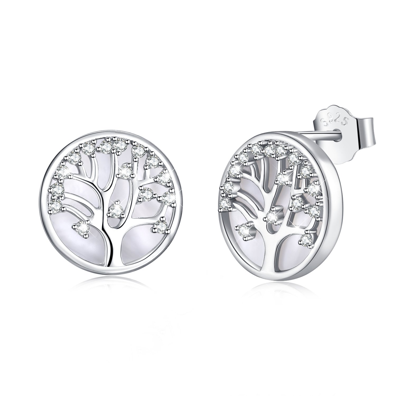 MEGACHIC Women Tree of Life Women's Sterling Silver Mother of Pearl Stud Earrings Crystals from Swarovski