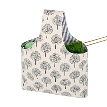 Knitting project wrist tote