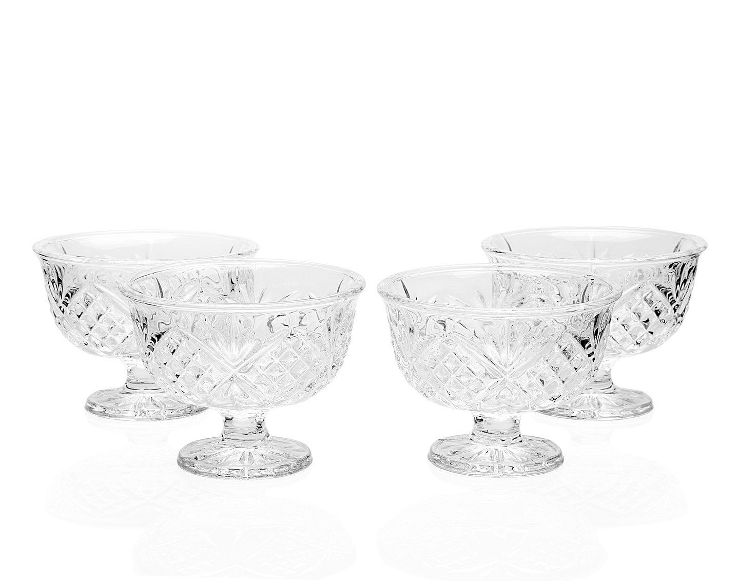 DUBLIN COLLECTION SET OF 4 CRYSTAL FOOTED ICE CREAM BOWLS - ice cream server Godinger Silver Art SYNCHKG034071