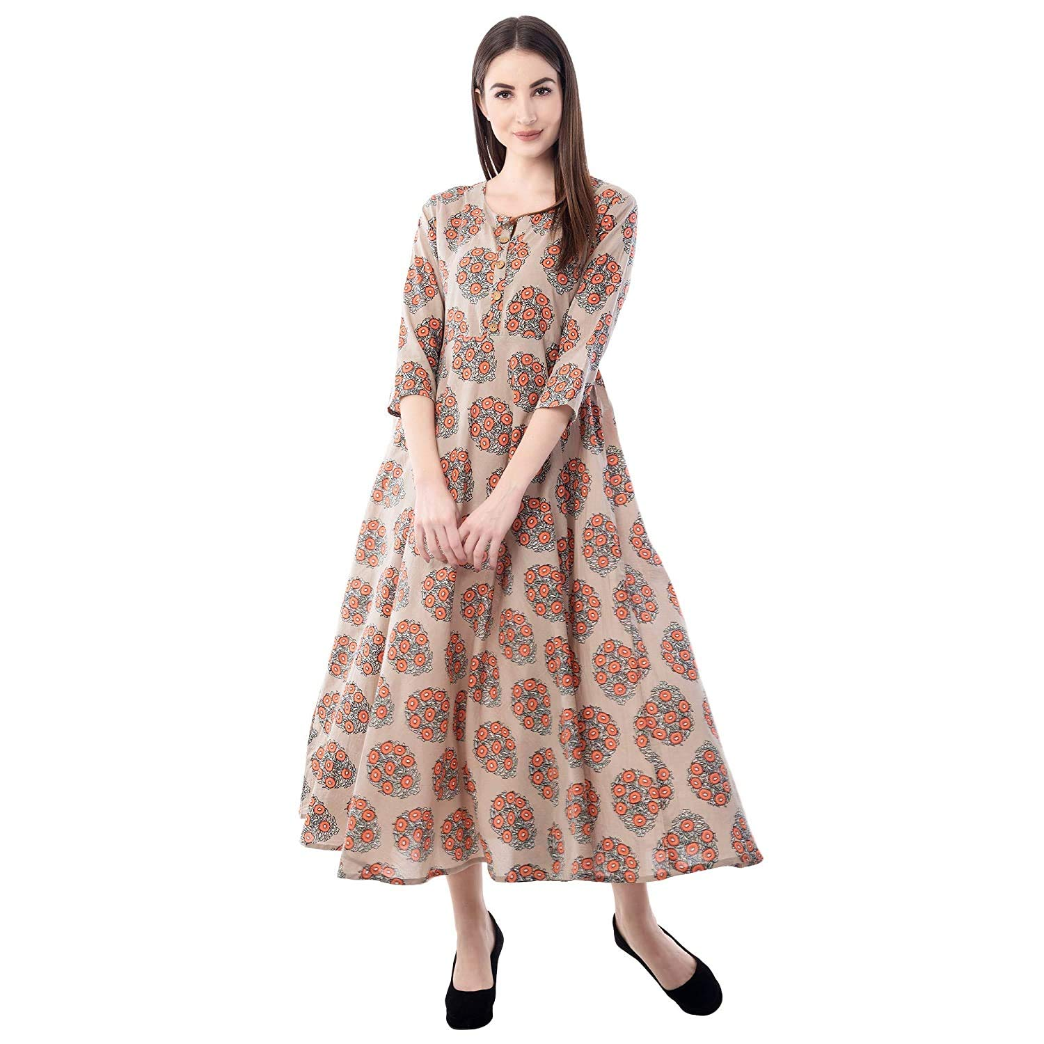 Beige Ankle Length Anarkali Cotton Kurta Kurti