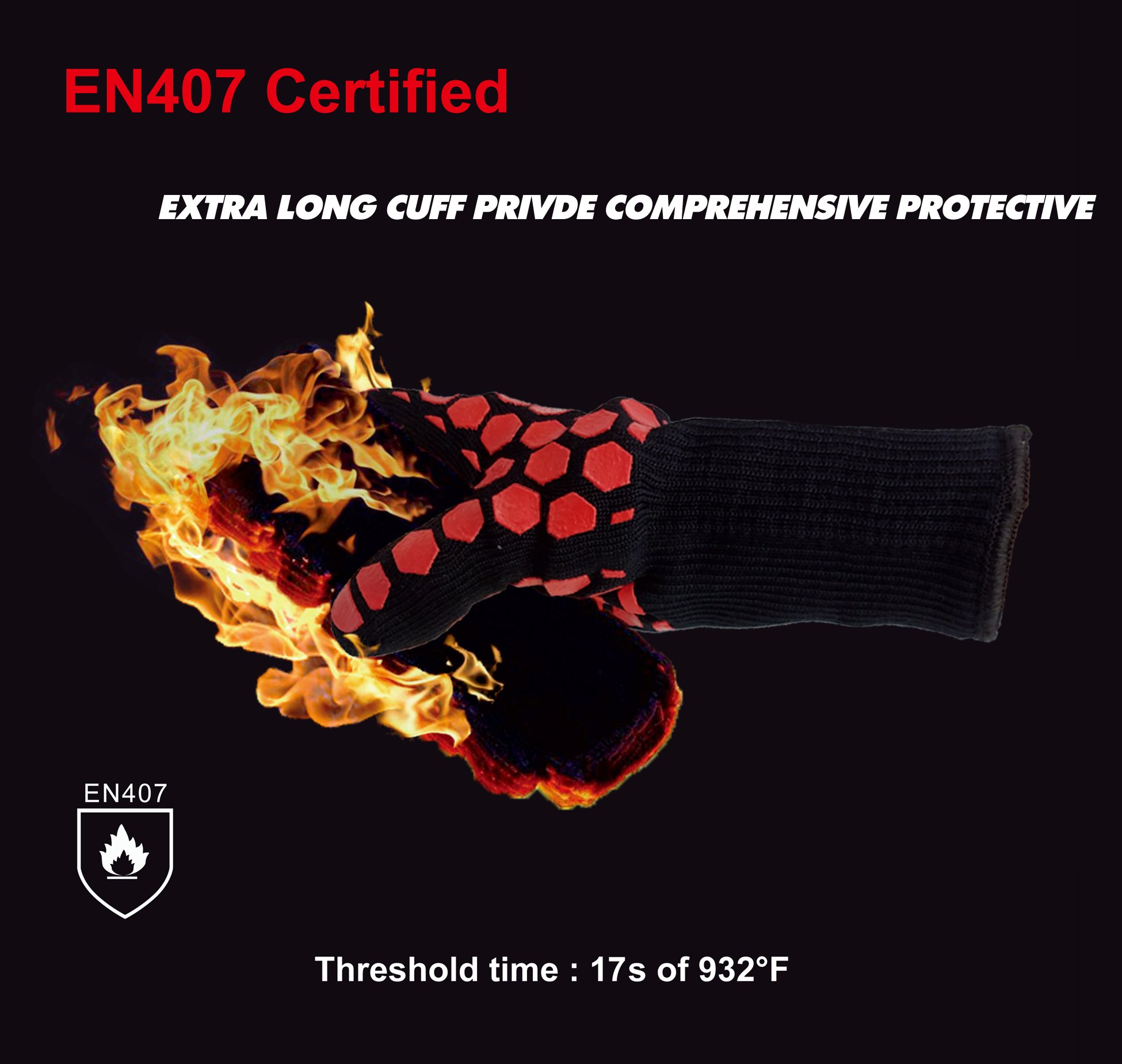 Heat Resistant Oven Gloves: EN407 Certified Withstand 932 °F, Double Layers Silicone Coating, BBQ Gloves & Oven Mitts For Cooking, Kitchen, Fireplace, Grilling, 1 Pair, Extended Long Cuff