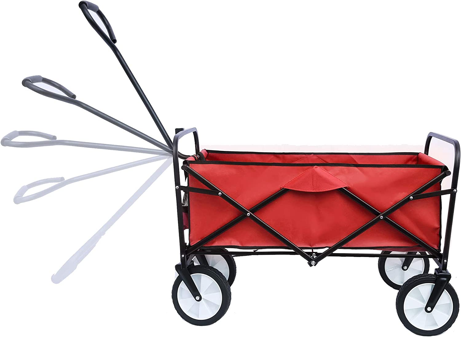 Folding Utility Wagon with Wheels Cover Bag Drink Holders, Adjustable Handle, Outdoor Cart for Garden Camping Shopping Beach