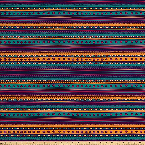 Upholstery Fabric Plum (Tribal Fabric by the Yard by Ambesonne, Striped Retro Aztec Pattern with Rich Mexican Ethnic Color Folkloric Print, Decorative Fabric for Upholstery and Home Accents, Teal Plum and Orange)
