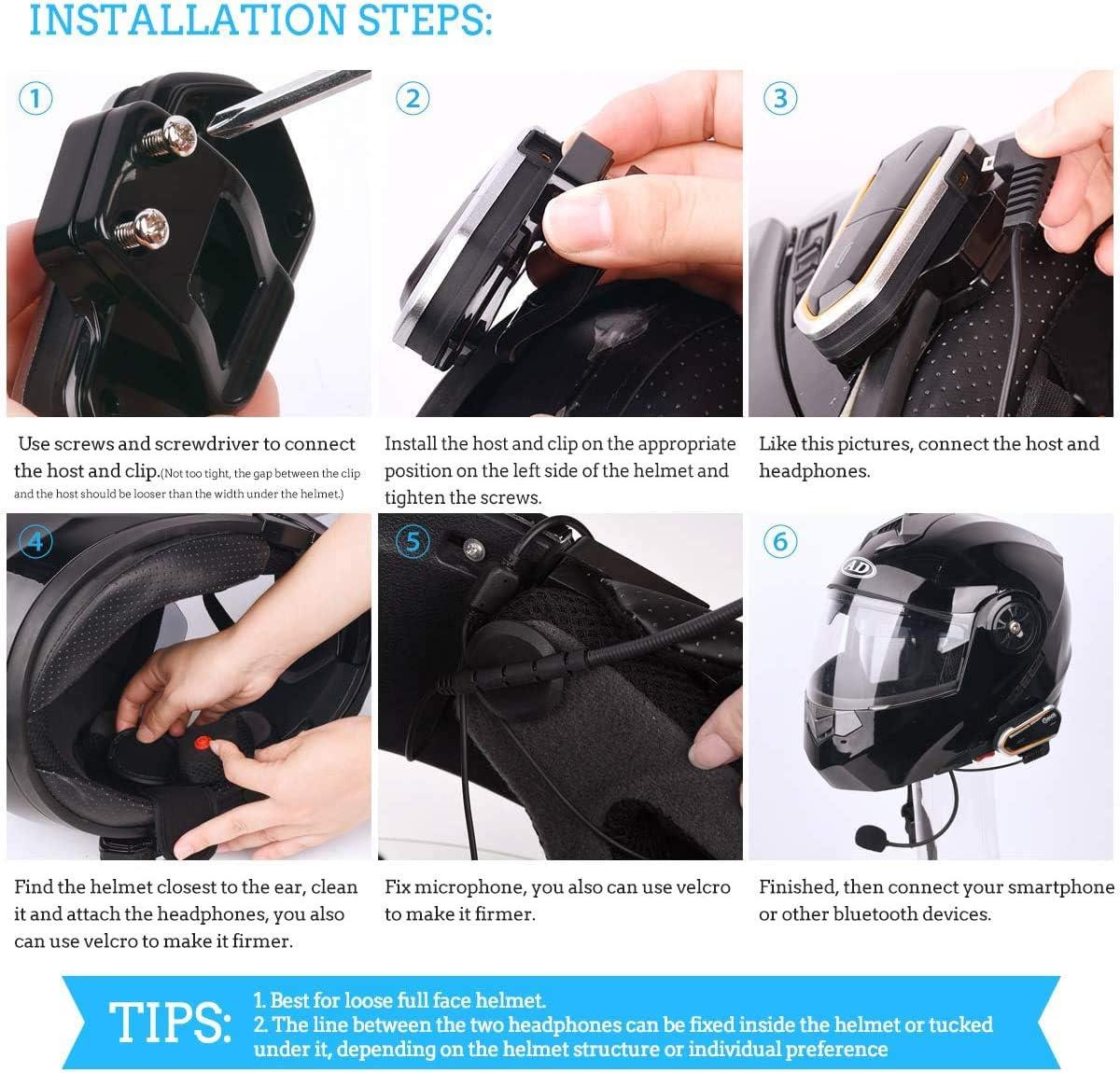 Geva Motorcycle Wireless Headset Motorcycle Intercom Upgrade FM Radio//2 Riders Helmet Wireless Headset 1090 Yards Intercom Range//Voice Dial//Automatic Answering//Broadcasting Phone Number//HD Stereo