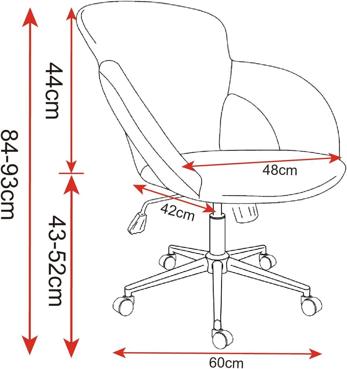 WOLTU BS17hgr Chaise de Bureau pivotant en Lin siège,Tabouret de Bureau Hauteur réglable Ergonomique,Gris Clair