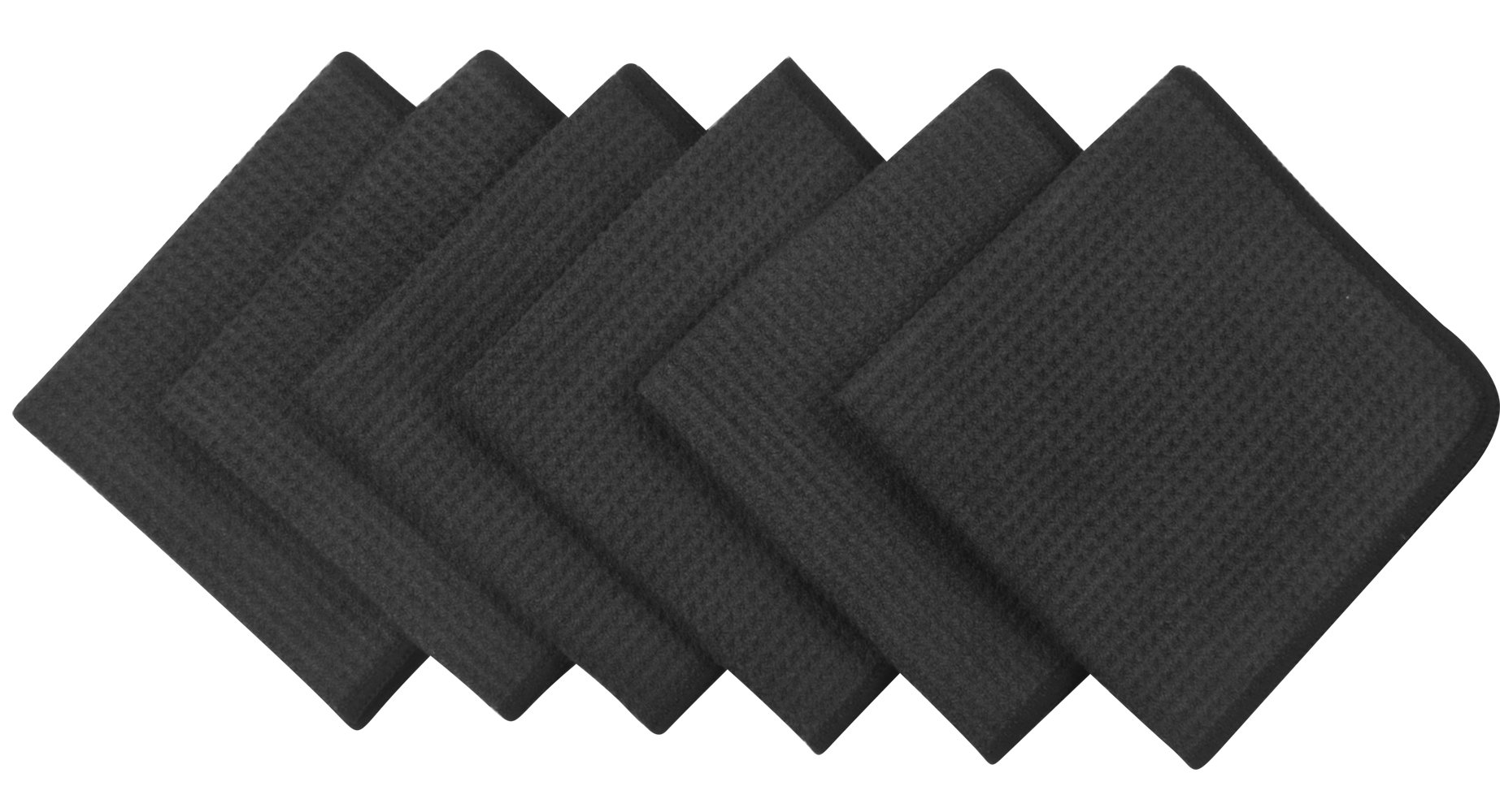 Sinland Microfiber Waffle Weave Dishcloths Cleaning Cloths 6 Pack 13inch X 13inch Black