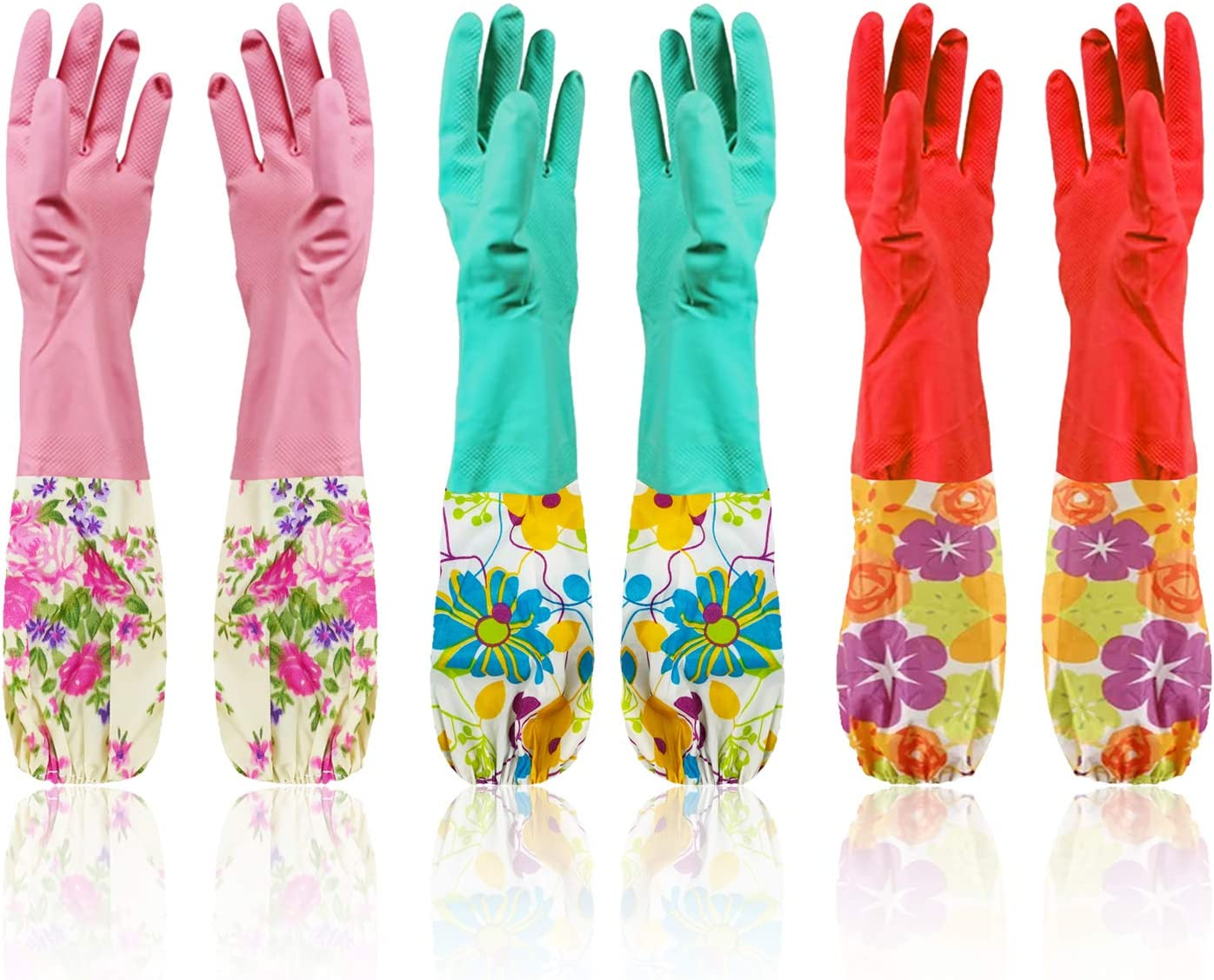 """Cindy&Will 3Pairs Reusable Elastic Cuff Extra Long Sleeves Latex Gloves, 20"""", Large Size"""