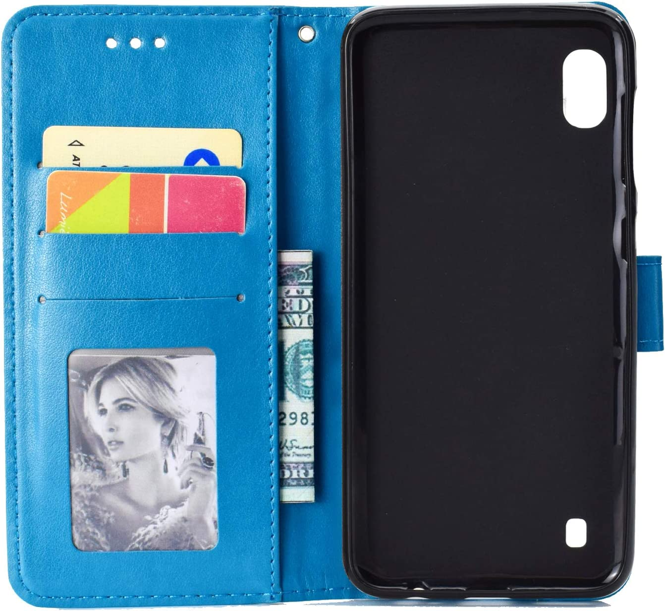 JAWSEU Wallet Flip Case Compatible with Samsung Galaxy A10 PU Leather Magnetic Folio Stand Case Cover with Embossed Flower Design Front and Back Bookstyle Card Slots Protective Case,Blue