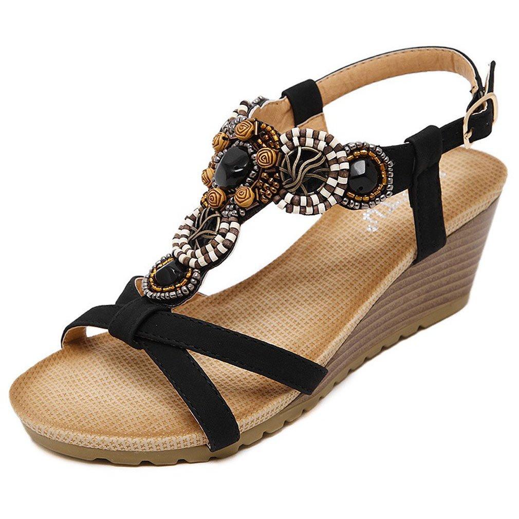 Xianshu Femmes Coin Romaine Talon Sandales Chaussures Peep Toe T-Strap B079Z8TFJV Perle Romaine Summer Beach Chaussures à Talons Hauts Noir c529d4b - therethere.space