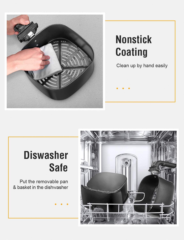 senza grassi 1400 W 3,5 l sicuro senza BPA protezione da surriscaldamento temperatura e timer regolabili con manico nascosto facile da pulire sano senza olio Aicok friggitrice ad aria calda