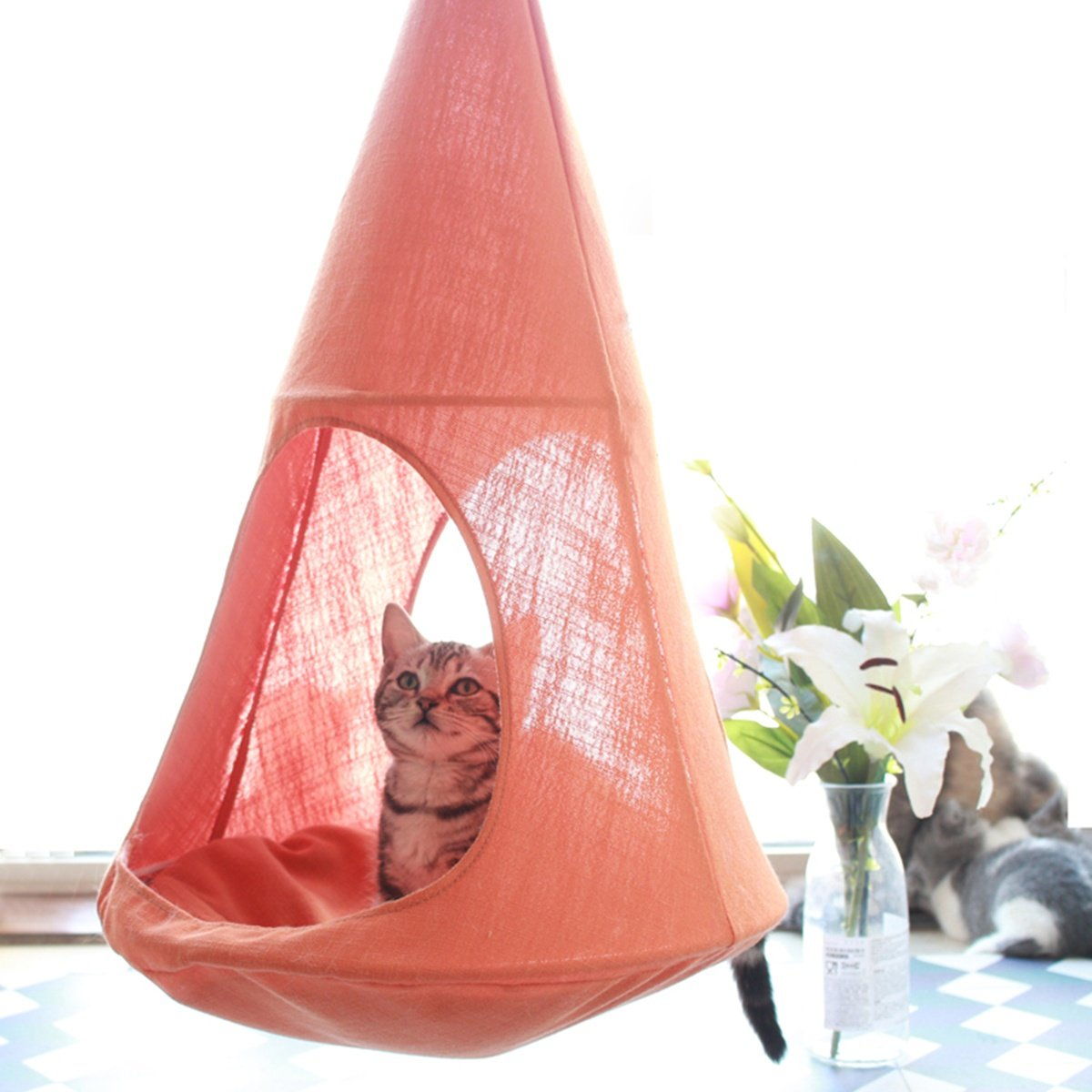 orange ALXDR Cat Hammock Hanging Type Kitten Bed Detachable Pet Linen Sling Attic Multi-useage Breathable Loft for Summer Living