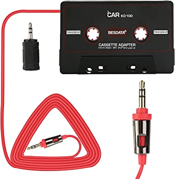 Mobil Device Car Cassette Adapters for iPod iPad Black MP3 iPhone 3 Feet Long Cable 3.5mm Male and 2.5mm Male Adapter