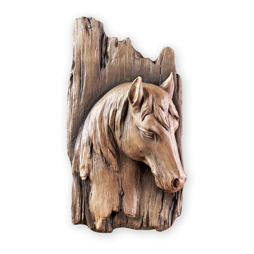 Collections Etc Rustic 3-Dimensional Horse Faux Wood Wall Art Decor