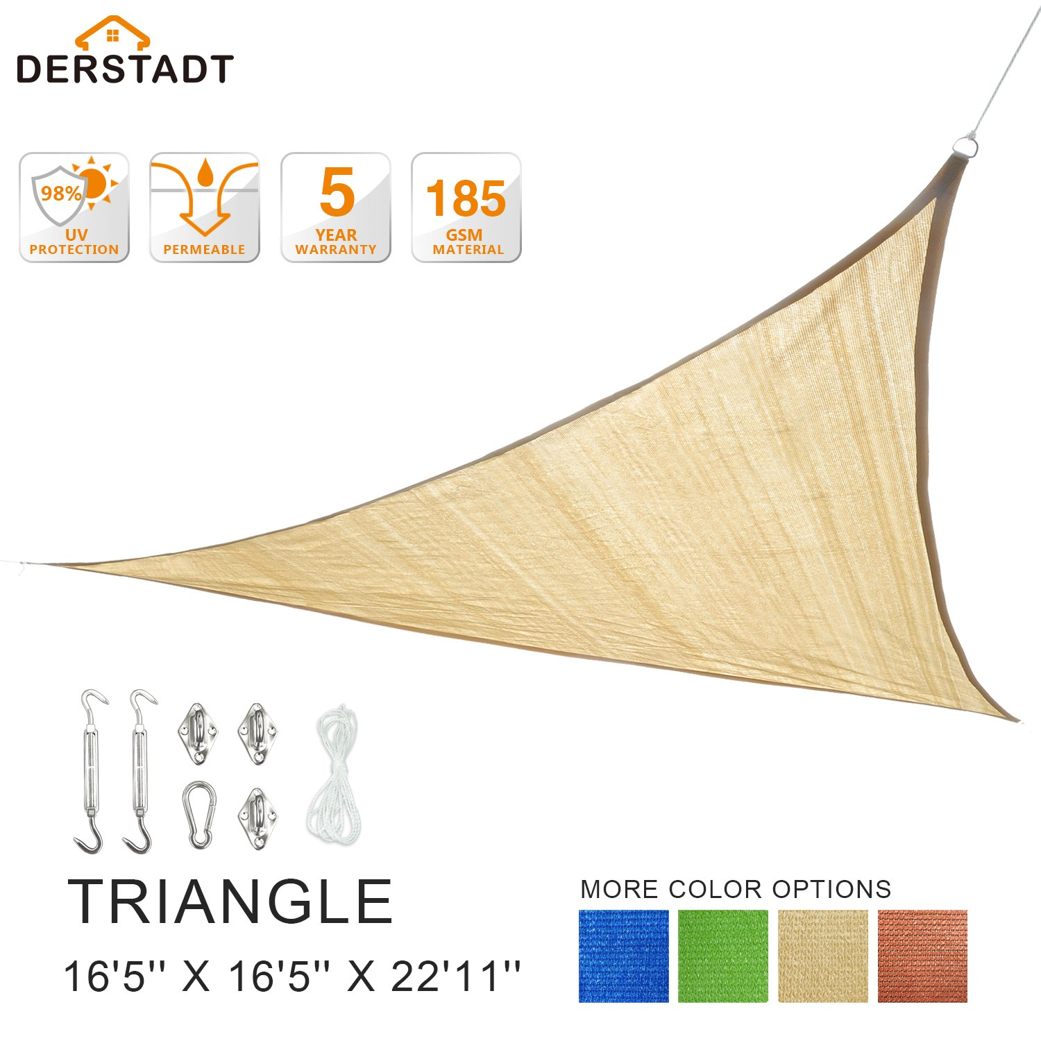 Derstadt Triangle 16'5'' X 16'5'' X 22'11'' 98% UV Block Sun Shade Sail with Stainless Steel Hardware Kit, Top Outdoor Patio Canopy Backyard Shelter (5 Years Warranty, 185G HDPE, 24.6'PE Rope) (Sand)
