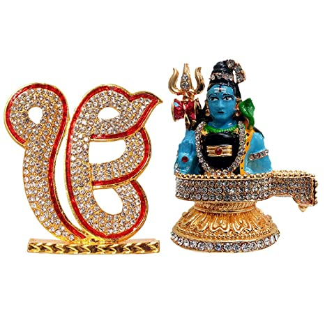 Fabzone Combo of 2 Sikh God Ik ONKAR & Shiva Car Dashboard