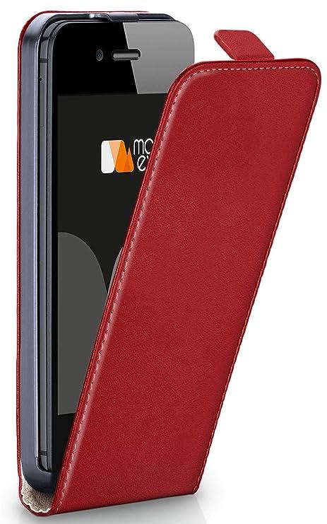 moex Apple iPhone 5S | Hülle Rot 360° Klapp-Hülle Etui Thin Handytasche Dünn Handyhülle für iPhone 5/5S/SE Case Flip Cover Sc