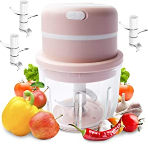 Aeroway Electric Garlic Chopper Mini Food Chopper Wireless Food Processor (300 ml) Rechargeable Personal Blender for Pepper Vegetable Meat Chili Fruit Baby Food Maker w 2 Extra 3 Head Blades