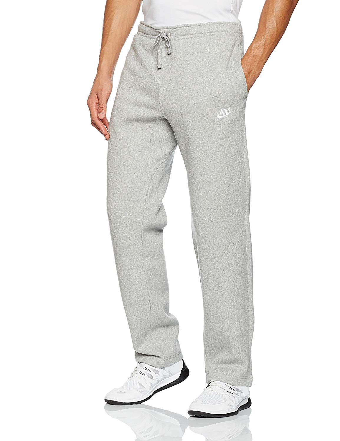 Nike Club Fleece Open Hem Men's Sweatpants (Dark Grey Heather/White, M)