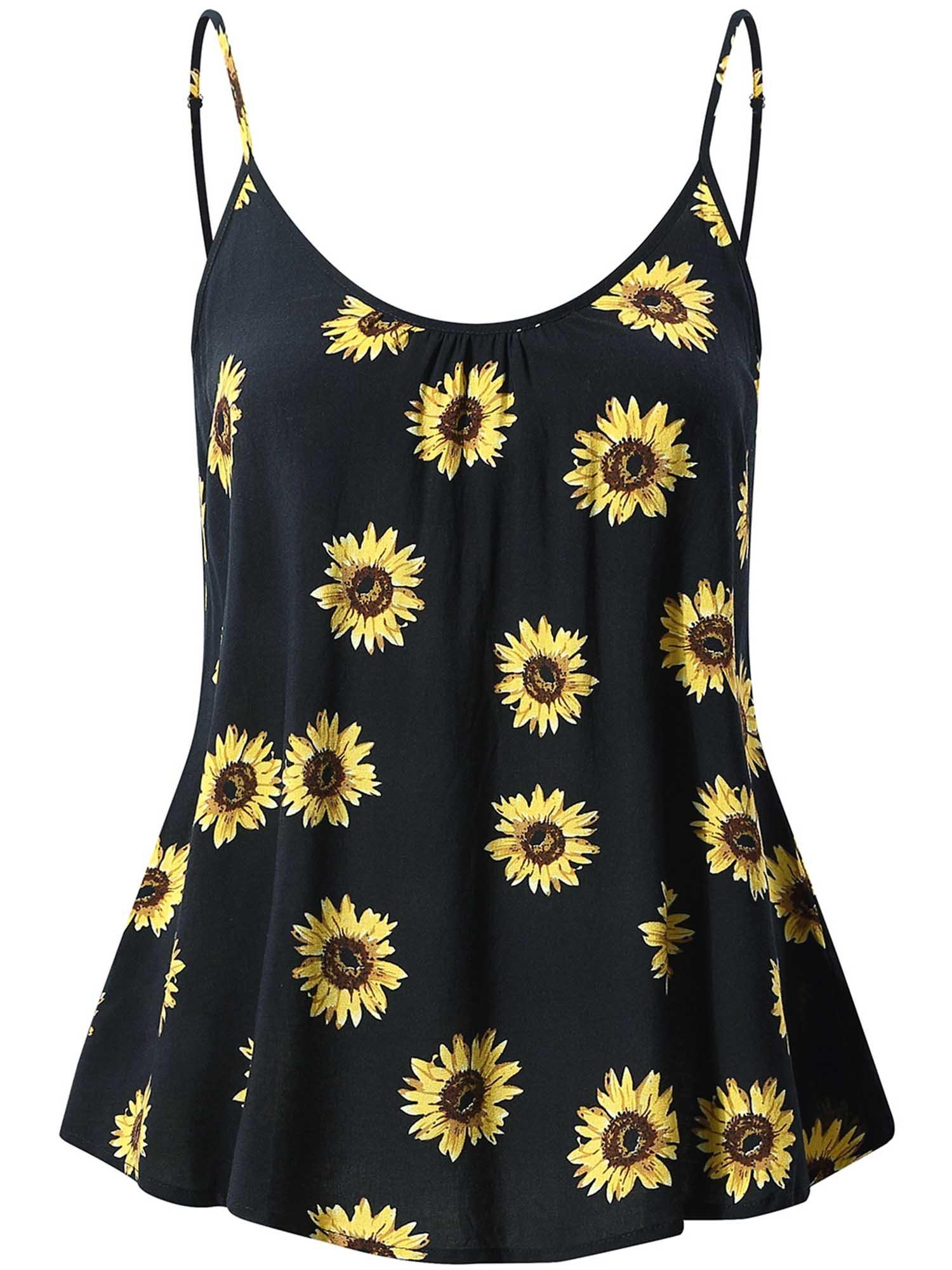 f25ba8193e1460 FENSACE Women s Sleeveless Summer Flowy Print Floral Spaghetti Strappy Tank  Tops product image
