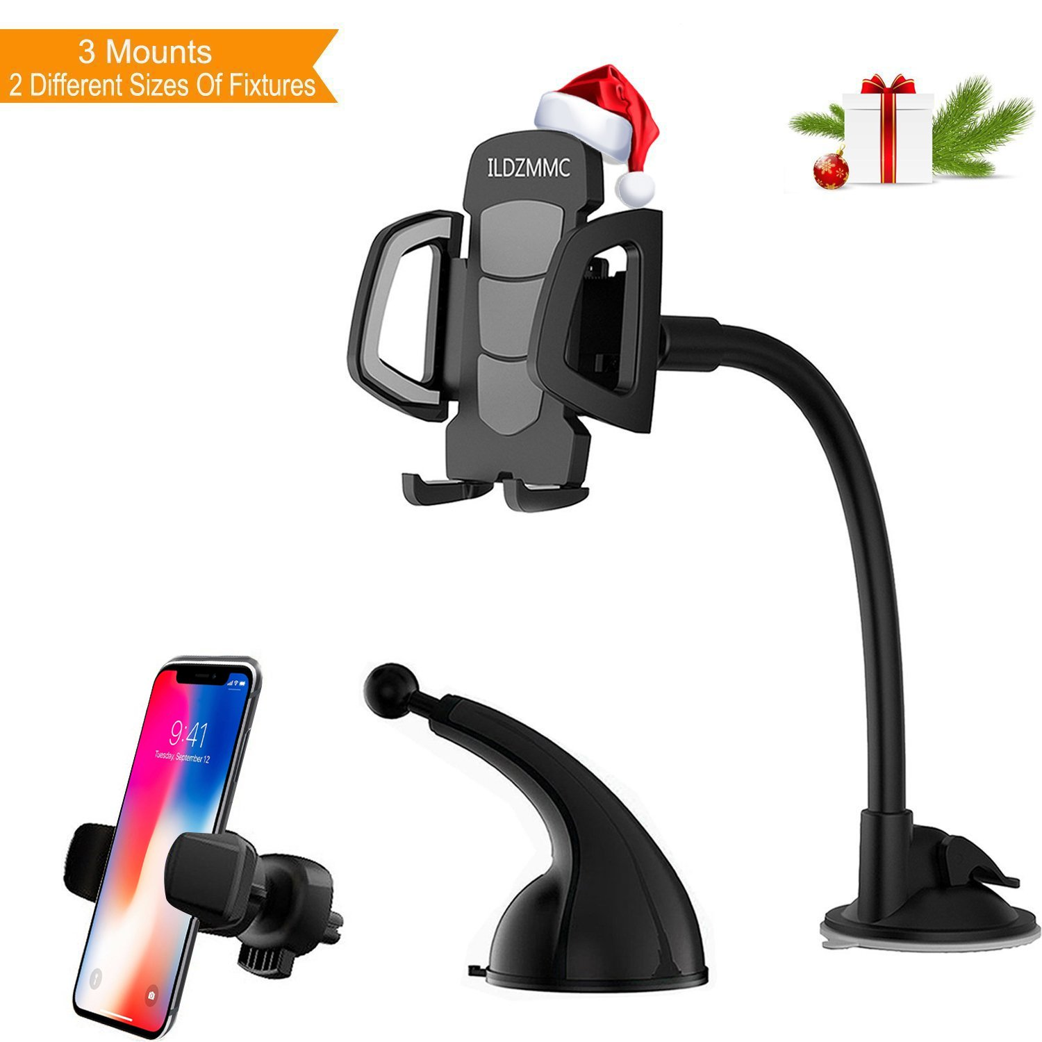 ILDZMMC Car Phone Mount, 3-in-1 Universal Phone Holder For Car Dashboard Windshield Mount Air Vent Car Phone Holder for iPhone X/8/8P/7/6/6S, Samsung Galaxy S5/S6/S7/S8 LG Huawei and More (Black)
