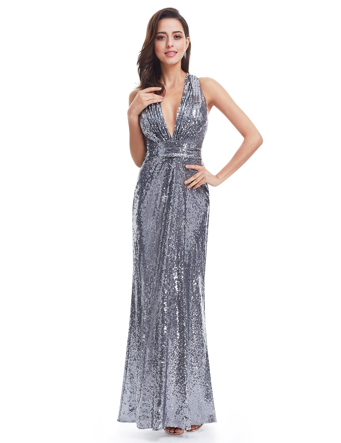 Ever-Pretty Womens Sleeveless Open Cross Back Long Evening Gown 14 US Silver Grey