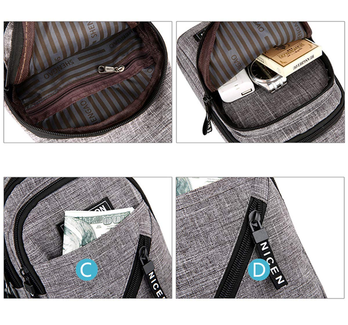 FUOE Sling Bag Crossbody Bag Shoulder Chest Back Pack Anti Theft Travel Bags (Style2-Black) by FUOE (Image #4)