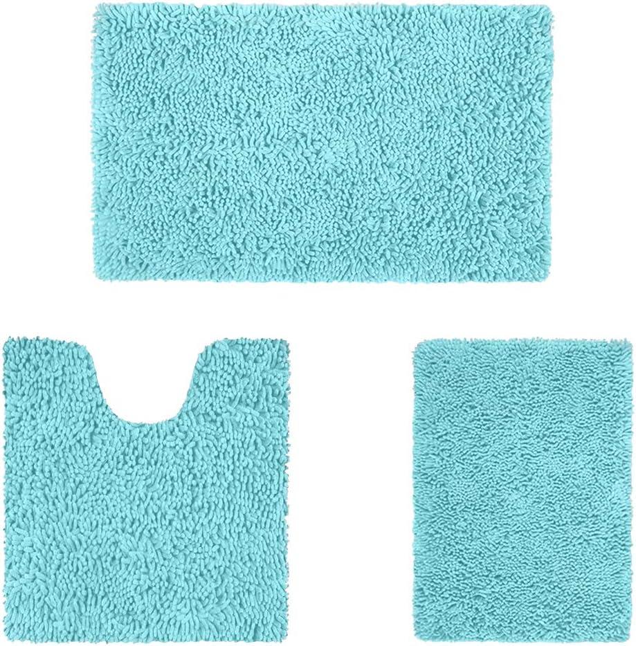 HOMEIDEAS 3 Pieces Bathroom Rugs Set Ultra Soft Non Slip and Absorbent Chenille Bath Rug, Spa Blue Christmas Bathroom Rugs Plush Bath Mats for Tub, Shower, Bathroom