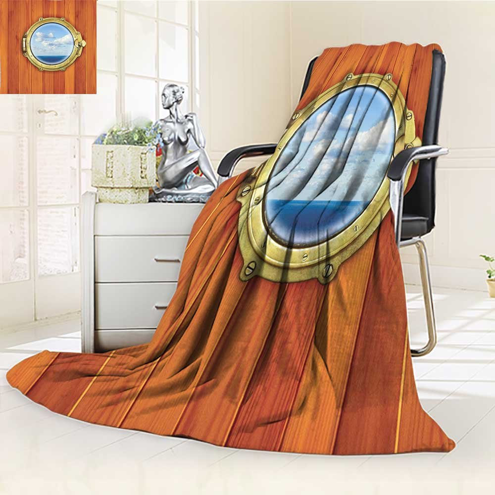 YOYI-HOME Digital Printing Duplex Printed Blanket Nautical Decor Porthole On The Wooden Background Window Ship at The Old Sailing Vessel Summer Quilt Comforter /W69 x H47