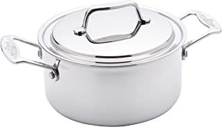 product image for USA Pan Cookware 5-Ply Stainless Steel 3 Quart Stock Pot with Cover, Oven and Dishwasher Safe, Made in the USA, Silver