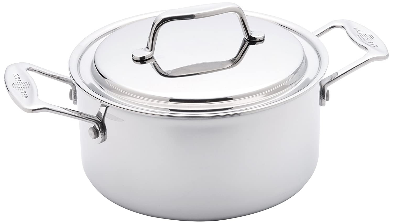 USA Pan 1510CW-1 Cookware 5-Ply Stainless Steel 3 Quart Stock Pot with Cover, Oven and Dishwasher Safe, Made in the USA Silver