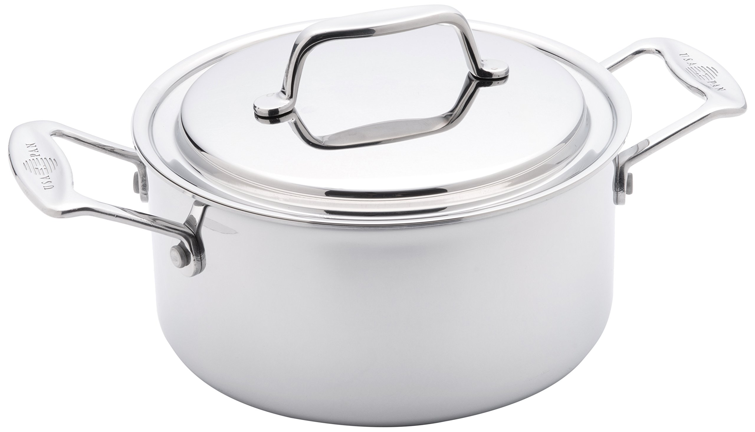USA Pan Cookware 5-Ply Stainless Steel 3 Quart Stock Pot with Cover, Oven and Dishwasher Safe, Made in the USA