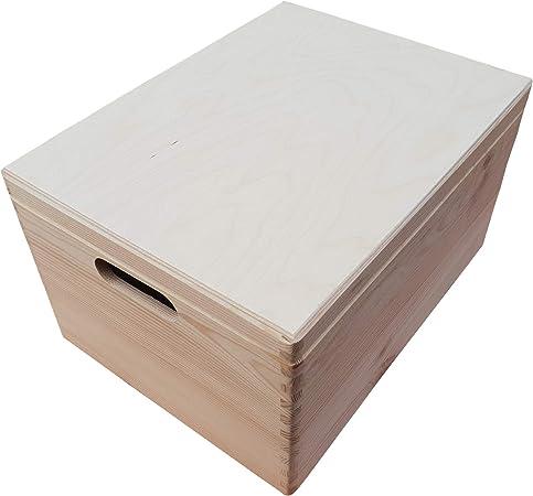 Caja grande de madera para juguetes con tapa y asas, 40 x 30 x 23 cm, sin pintar.: Amazon.es: Hogar