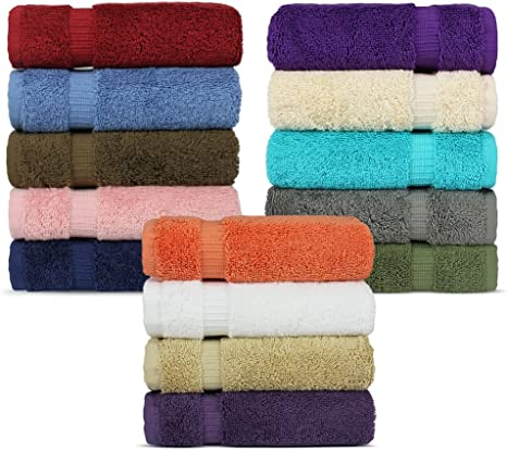 Amazon Com Chakir Turkish Linens 100 Turkish Cotton Luxury Hotel Spa Washcloth Set Set Of 12 Multicolor Home Kitchen