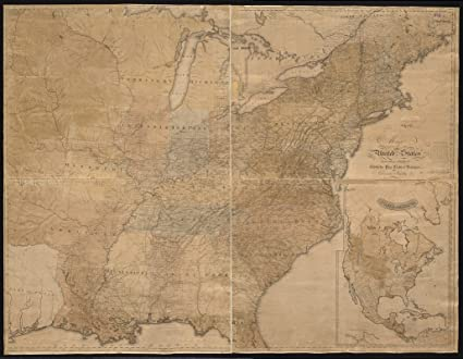Amazon.com: Historic Map | 1828-1836 Map of The United States ...