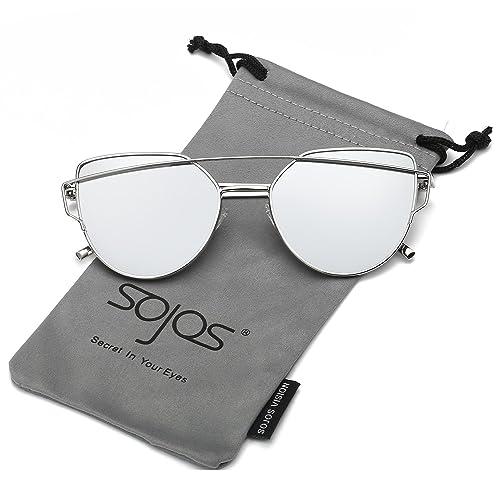 SojoS Gafas De Sol De Moda Marca Metal Para Mujer-Lentes Planos De Espejo- Con Estilo Ojo De Gato SJ...
