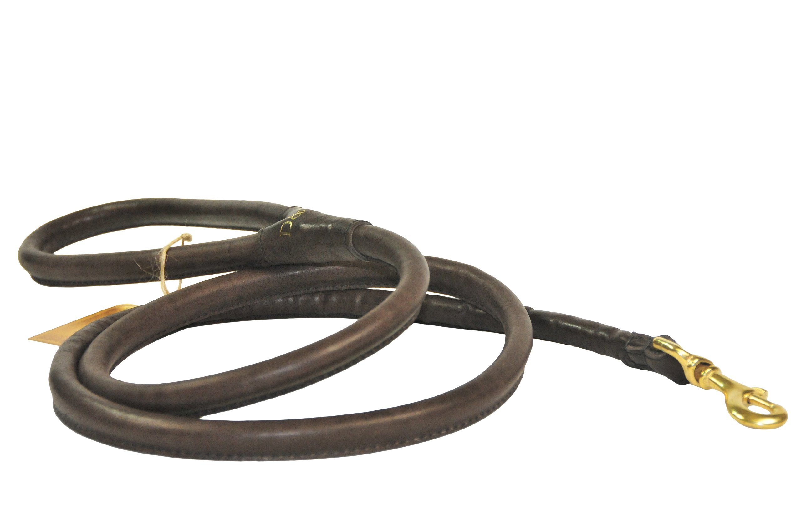 Dean and Tyler Tamed Beauty Rolled Leash, Brown 2-Feet by 1/2-Inch Diameter With Handle And Solid Brass Hardware.