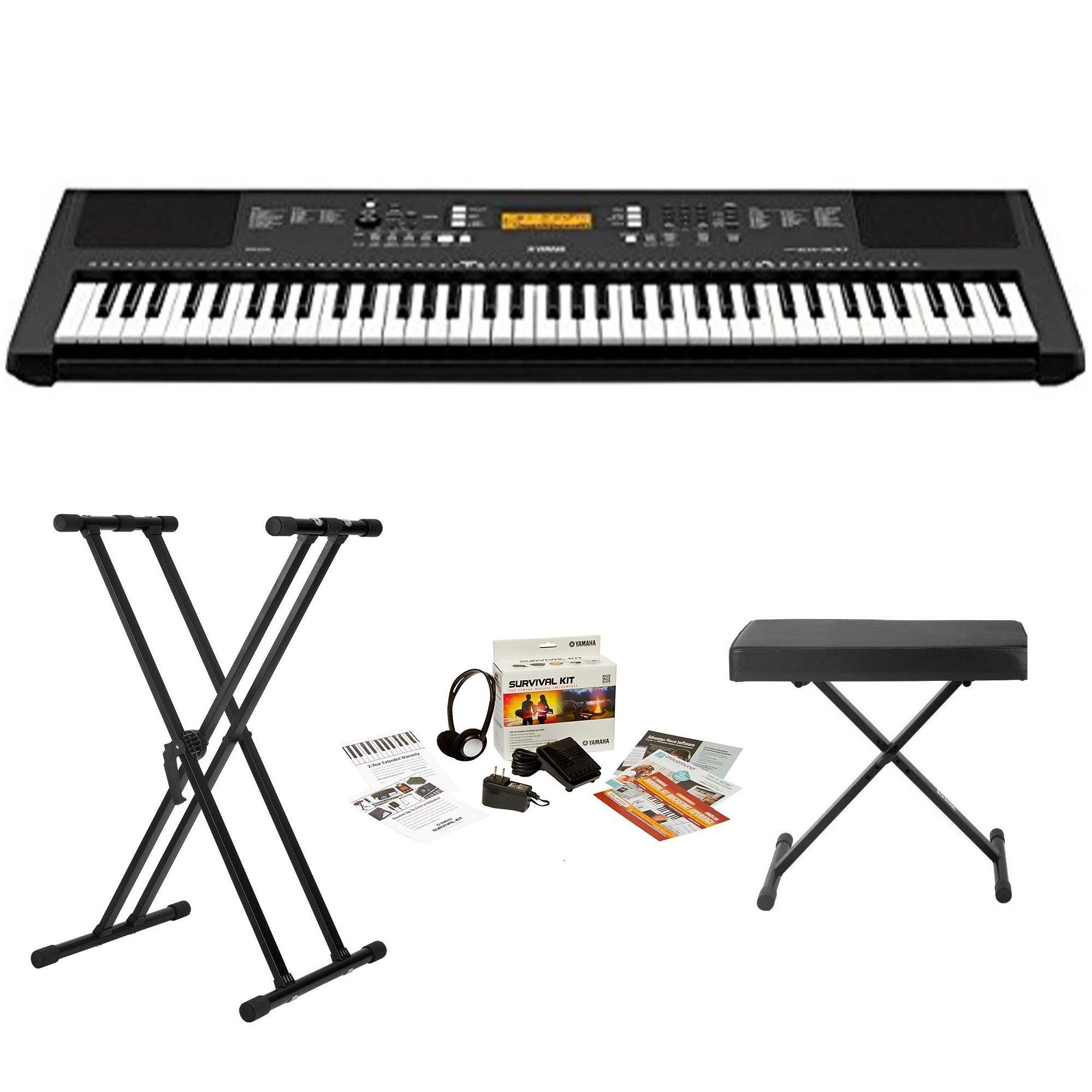 Yamaha PSREW300 76-key Portable Keyboard With Knox Stand Knox Bench and Yamaha Power Supply