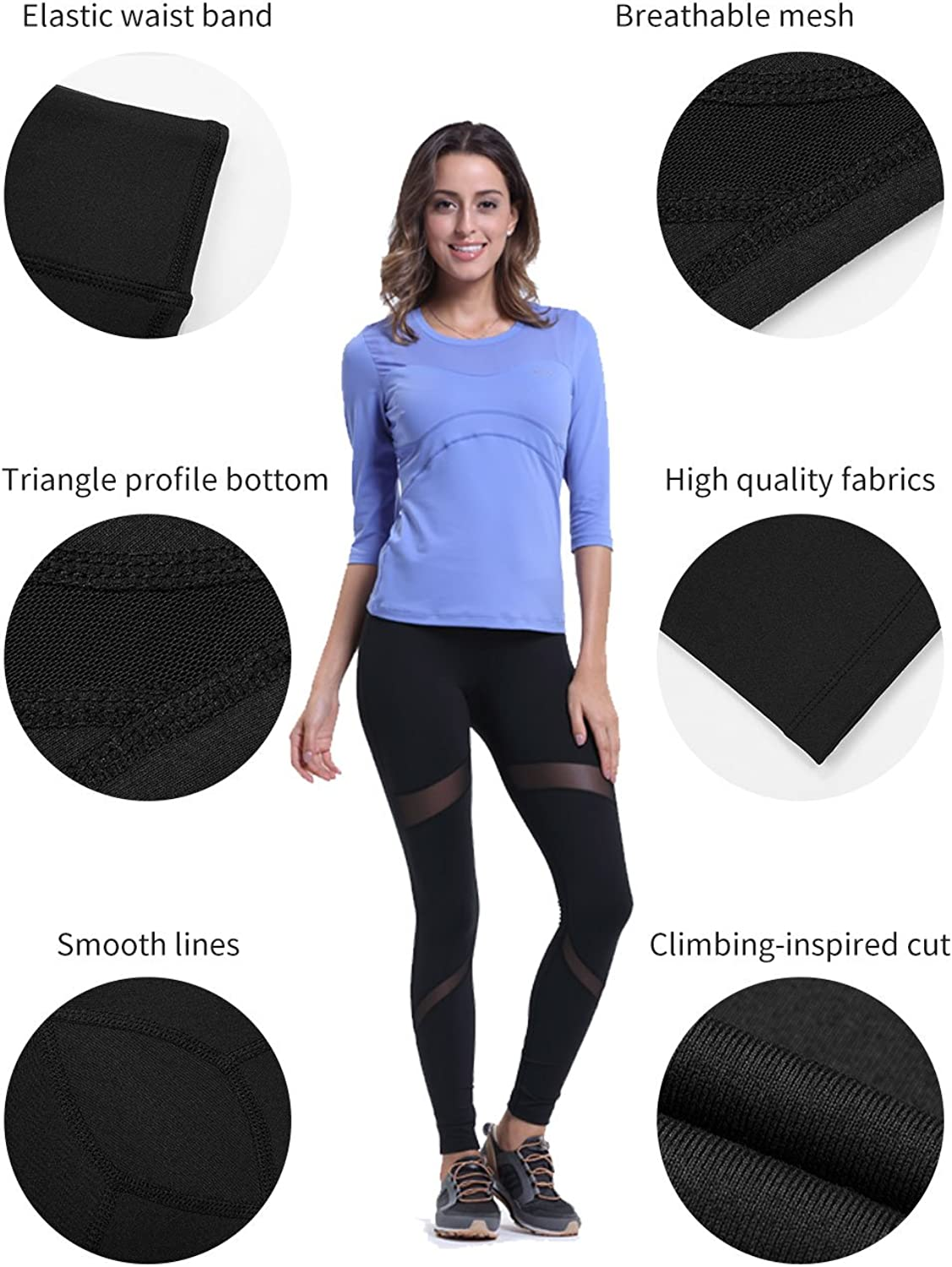 ZOANO Womens Mesh Yoga Legging Stretchy Pants Women Tummy Control Workout Running Gym Tights for Women