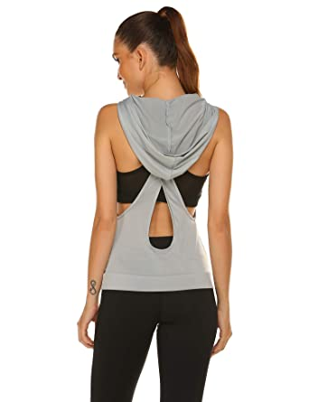 0744a8ce HOTOUCH Sexy Shirts for Women Backless Casual Solid Hooded Tank Top Vest  Grey S