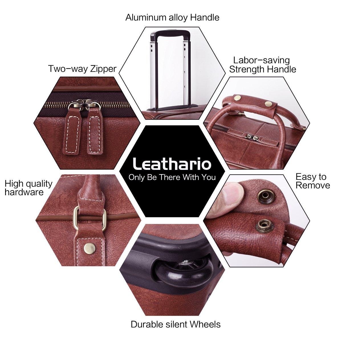 Leathario Leather Luggage travel duffle bag weekend overnight bag (Burgendy) by Leathario (Image #6)