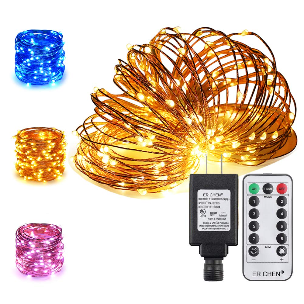 ER CHEN Color Changing LED String Lights Plug in with Remote, 39.5ft 100 LED Copper Wire Dimmable Fairy Lights 8 Modes Decorative Lights with Timer for Bedroom, Patio, Garden, Yard-Warm White&Blue
