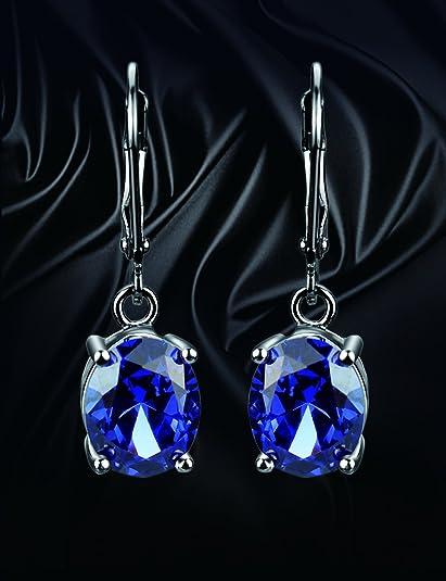 Elensan Princesa Diana William Kate Middleton - Juego de pendientes y collares de plata de ley 925 con zafiro azul: Amazon.es: Joyería