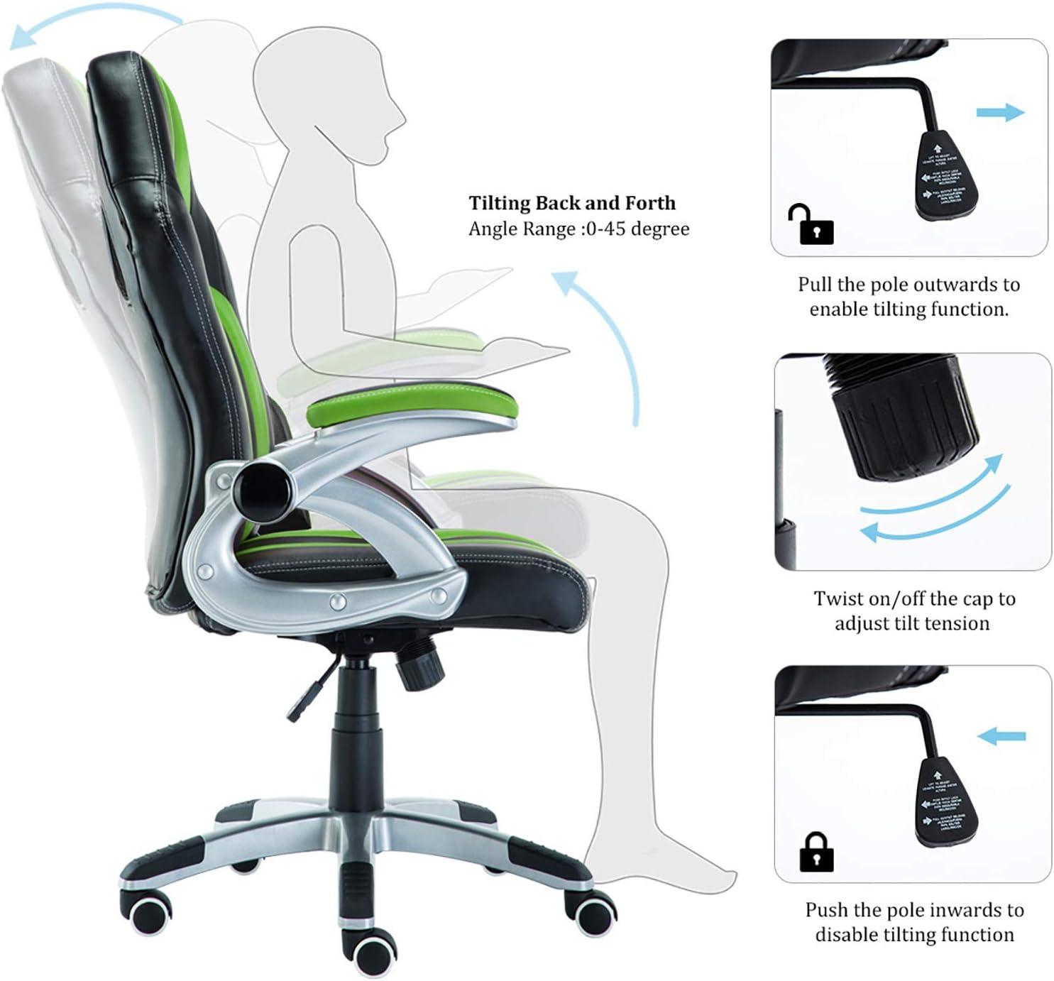 con schienale alto con braccioli regolabili in similpelle JR Knight adatta a tutte le scrivanie girevole sedia sportiva da gioco stile pilota