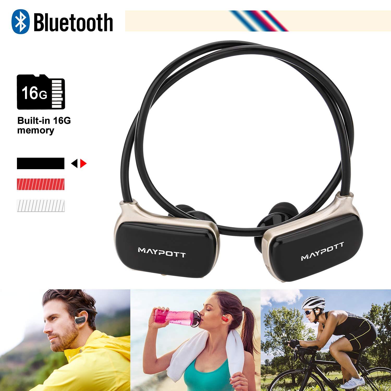Maypott MP3 Music Player -Wireless Bluetooth Headphone - Stereo Waterproof Bluetooth Earphone Built in 16GB Memory Headset (Black)