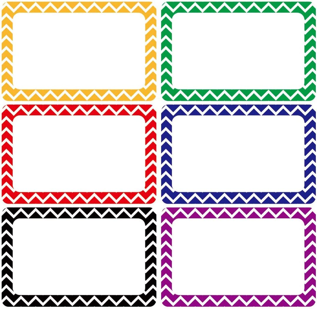 Cualfec 300 Cute Chevron Name Tag Stickers Colorful Border Name Labels for School, Office, Home Can Be Used on Clothes, Storage Boxes, Packages - Updated Stronger Stickiness