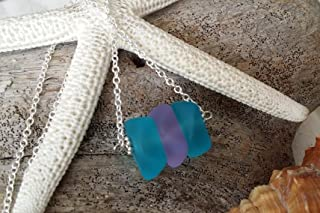 product image for Handmade in Hawaii, blue purple sea glass necklace, gift box,Summer beach jewelry. gifts for girlfriend, beach glass necklace,sea glass jewelry,