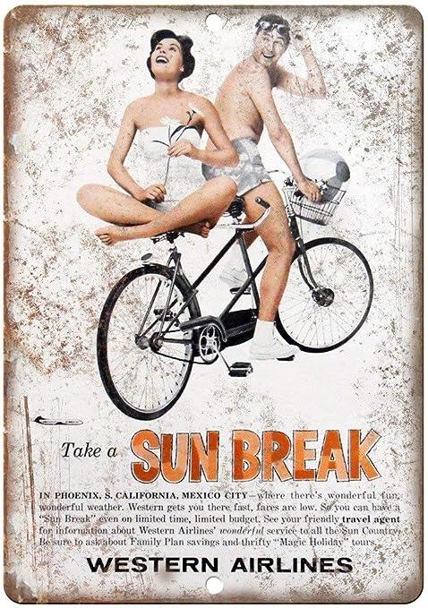 Western Airlines Sun Break Bicycle Póster De Pared Metal ...