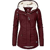 Abrigo cálido para Mujer con Capucha, Abrigo de Invierno con cálido Ajustado Forrado, Cuello De Piel Agrandado Y Abrigo…